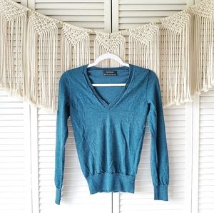 CLUB MONACO Blue Wool V Neck Pullover Sweater Top